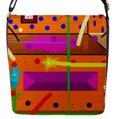 Orange Abstraction Flap Messenger Bag (s) by Valentinaart