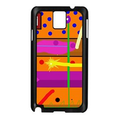 Orange Abstraction Samsung Galaxy Note 3 N9005 Case (black) by Valentinaart