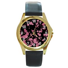 Pink Love Round Gold Metal Watch by TRENDYcouture
