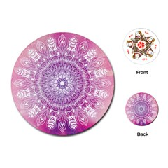 Pink Watercolour Mandala Playing Cards (round)  by TanyaDraws