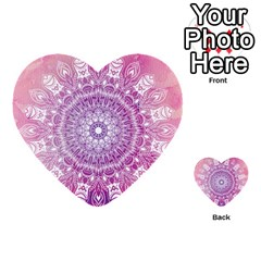 Pink Watercolour Mandala Multi Purpose Cards (heart)