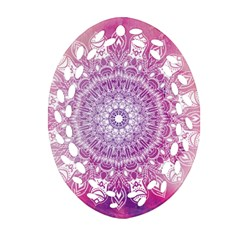 Pink Watercolour Mandala Ornament (oval Filigree)  by TanyaDraws