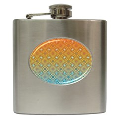 Ombre Fire And Water Pattern Hip Flask (6 Oz) by TanyaDraws