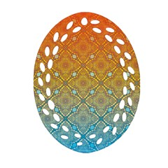Ombre Fire And Water Pattern Oval Filigree Ornament (2 Side)  by TanyaDraws