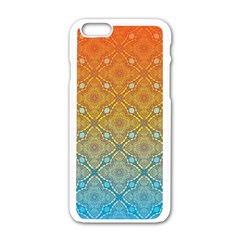 Ombre Fire And Water Pattern Apple Iphone 6/6s White Enamel Case by TanyaDraws