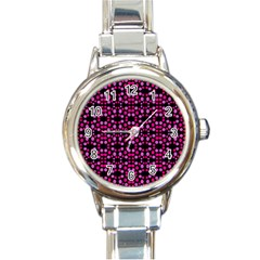 Dots Pattern Pink Round Italian Charm Watch by BrightVibesDesign