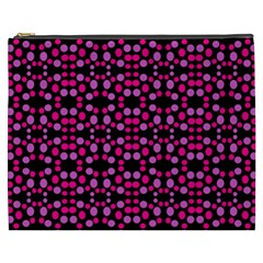 Dots Pattern Pink Cosmetic Bag (xxxl)  by BrightVibesDesign