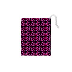 Dots Pattern Pink Drawstring Pouches (XS)  by BrightVibesDesign