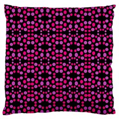 Dots Pattern Pink Large Flano Cushion Case (two Sides) by BrightVibesDesign