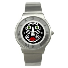 African Mask Stainless Steel Watch by Valentinaart