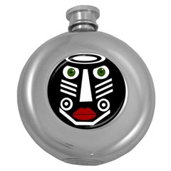 African Mask Round Hip Flask (5 Oz) by Valentinaart
