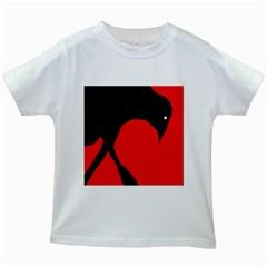 Black Raven Kids White T Shirts by Valentinaart