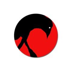 Black Raven Magnet 3  (round) by Valentinaart