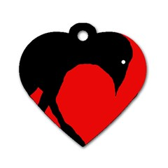 Black Raven Dog Tag Heart (one Side)