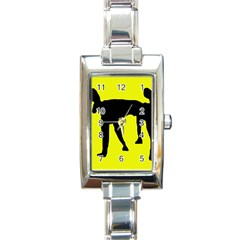Black Dog Rectangle Italian Charm Watch by Valentinaart