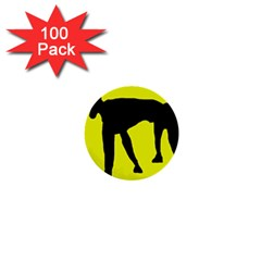 Black Dog 1  Mini Buttons (100 Pack)  by Valentinaart