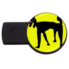 Black Dog Usb Flash Drive Round (2 Gb)  by Valentinaart