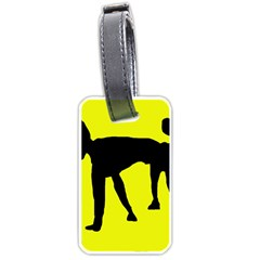 Black Dog Luggage Tags (one Side)  by Valentinaart