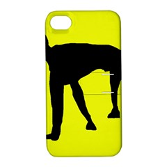 Black Dog Apple Iphone 4/4s Hardshell Case With Stand by Valentinaart