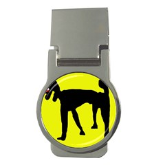 Black Dog Money Clips (round)  by Valentinaart