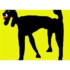 Black Dog Birthday Cake 3d Greeting Card (7x5)