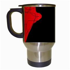 Red And Black Abstract Design Travel Mugs (white) by Valentinaart