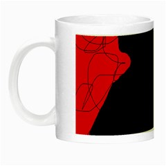 Red And Black Abstract Design Night Luminous Mugs by Valentinaart