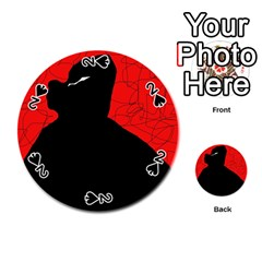Red And Black Abstract Design Playing Cards 54 (round)