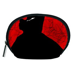 Red And Black Abstract Design Accessory Pouches (medium)  by Valentinaart