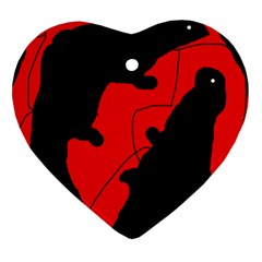 Black And Red Lizard  Ornament (heart)  by Valentinaart