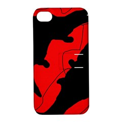 Black And Red Lizard  Apple Iphone 4/4s Hardshell Case With Stand by Valentinaart
