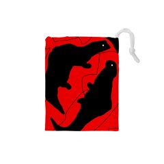 Black And Red Lizard  Drawstring Pouches (small)  by Valentinaart