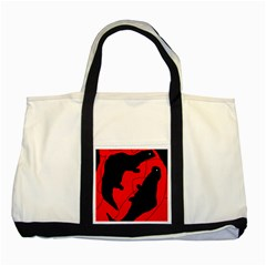 Black And Red Lizard  Two Tone Tote Bag by Valentinaart