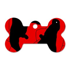 Black And Red Lizard  Dog Tag Bone (one Side) by Valentinaart