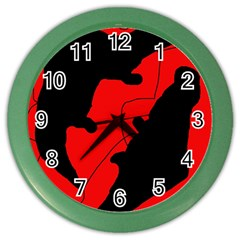 Black And Red Lizard  Color Wall Clocks