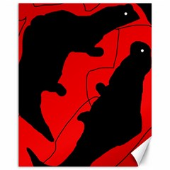 Black And Red Lizard  Canvas 11  X 14   by Valentinaart