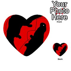 Black And Red Lizard  Multi Purpose Cards (heart)  by Valentinaart