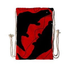 Black And Red Lizard  Drawstring Bag (small) by Valentinaart