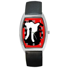 Red, Black And White Barrel Style Metal Watch by Valentinaart