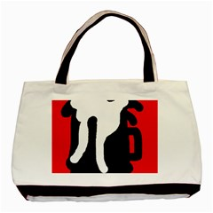 Red, Black And White Basic Tote Bag by Valentinaart