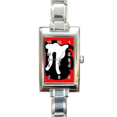 Red, Black And White Rectangle Italian Charm Watch by Valentinaart