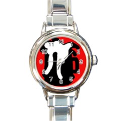 Red, Black And White Round Italian Charm Watch by Valentinaart