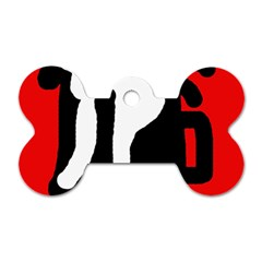Red, Black And White Dog Tag Bone (two Sides) by Valentinaart