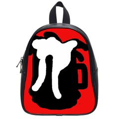 Red, Black And White School Bags (small)  by Valentinaart