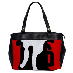 Red, Black And White Office Handbags by Valentinaart