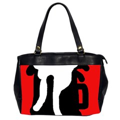 Red, Black And White Office Handbags (2 Sides)  by Valentinaart