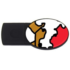Artistic Cow Usb Flash Drive Oval (4 Gb)  by Valentinaart