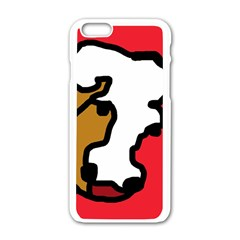 Artistic cow Apple iPhone 6/6S White Enamel Case by Valentinaart