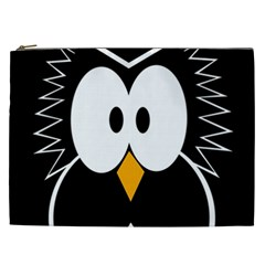 Black Owl Cosmetic Bag (xxl)  by Valentinaart