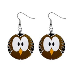 Brown Simple Owl Mini Button Earrings by Valentinaart